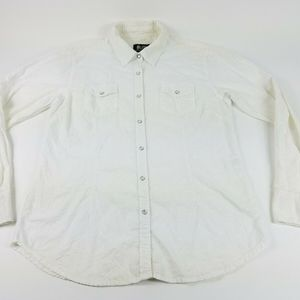 Outback Trading Co Women XL White Pearl Snap Shirt